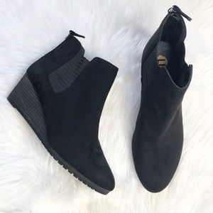 Dr. Scholl's black vegan suede wedge booties